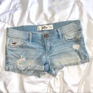 Hollister Distressed Light Washed Booty Shorts